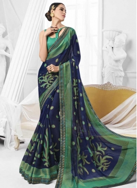 Faux Chiffon Navy Blue and Sea Green Trendy Classic Saree