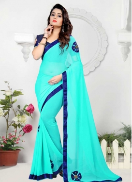 Faux Chiffon Navy Blue and Turquoise Trendy Saree