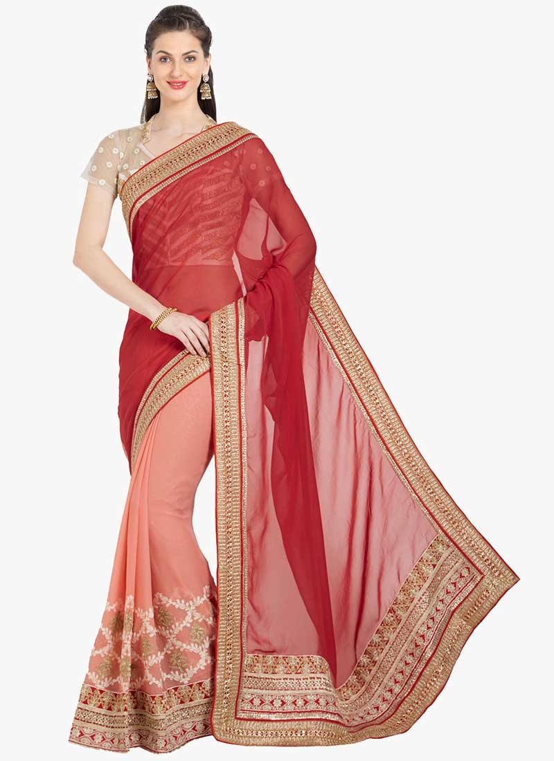 Faux Chiffon Red and Salmon Half N Half Trendy Saree For Ceremonial