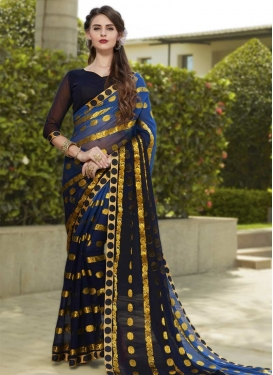 Faux Chiffon Thread Work Blue and Navy Blue Classic Saree
