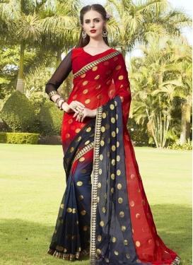 Faux Chiffon Thread Work Traditional Saree