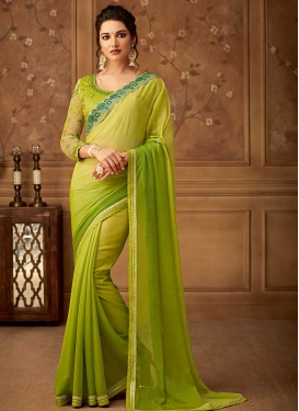 Faux Chiffon Traditional Saree For Festival