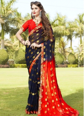 Faux Chiffon Trendy Classic Saree For Ceremonial
