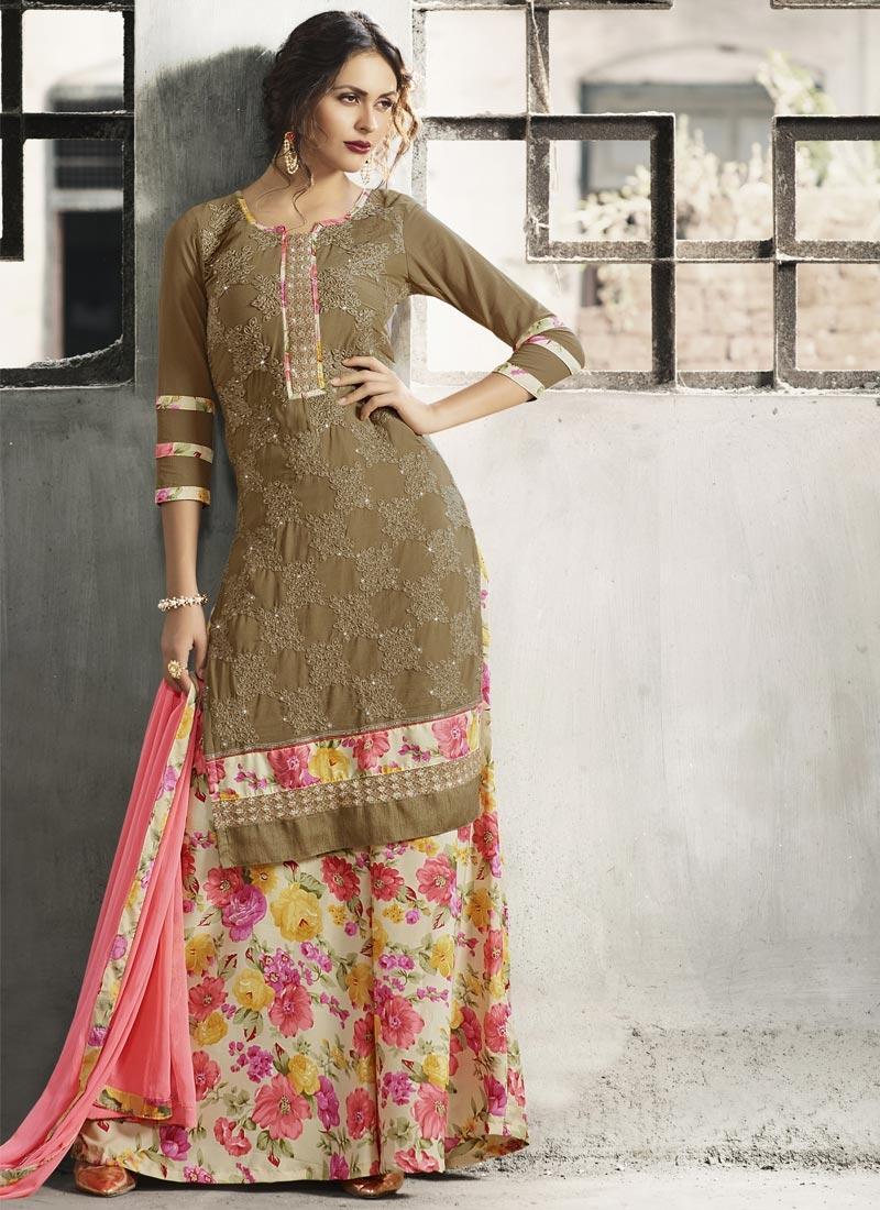 Faux Crepe Beige and Brown Digital Print Work Palazzo Salwar Suit