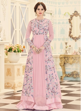 Faux Georgette Aari Work Asymmetrical Designer Salwar Suit