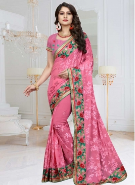 Faux Georgette Aari Work Trendy Classic Saree