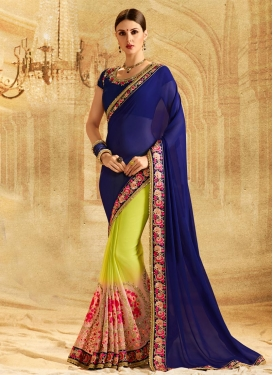 Faux Georgette Aloe Veera Green and Navy Blue Half N Half Trendy Saree For Festival