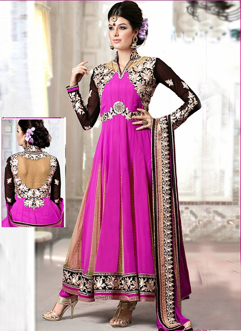 Faux Georgette And Net Party Wear Salwar Suit