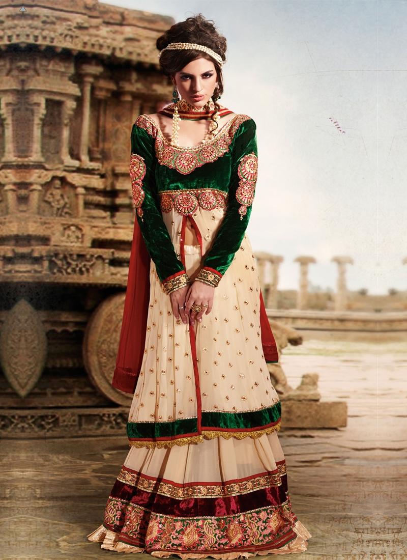 Faux Georgette And Velvet Designer Lehenga Choli