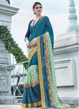 Faux Georgette Aqua Blue and Navy Blue Embroidered Work Classic Designer Saree
