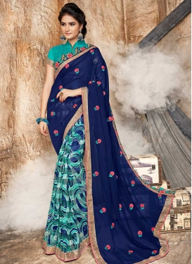 Faux Georgette Aqua Blue and Navy Blue Half N Half Designer Saree For Ceremonial