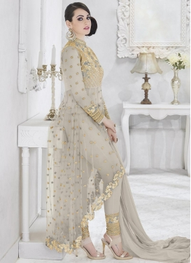 Faux Georgette Asymmetrical Designer Salwar Suit For Festival