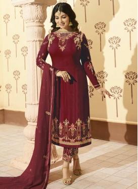 Faux Georgette Ayesha Takia Pant Style Straight Salwar Kameez