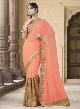 Faux Georgette Beads Work Beige and Peach Classic Saree For Ceremonial
