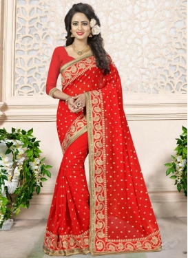 Faux Georgette Beads Work Classic Saree