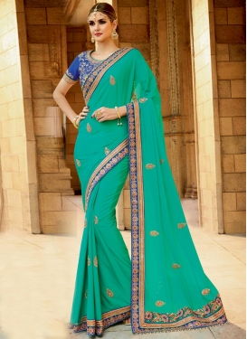 Faux Georgette Beads Work Contemporary Saree