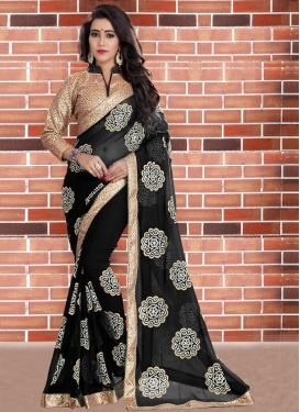 Faux Georgette Beads Work Contemporary Style Saree