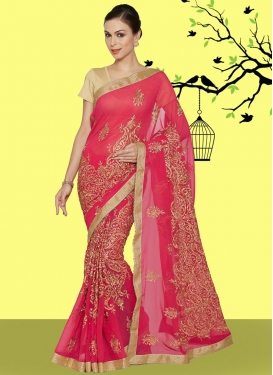 Faux Georgette Beads Work Designer Contemporary Style Saree