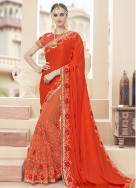 Faux Georgette Beads Work Half N Half Trendy Saree