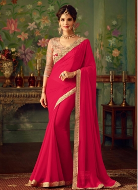 Faux Georgette Beads Work Trendy Saree