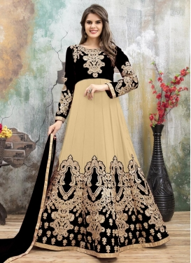 Faux Georgette Beige and Black Embroidered Work Ankle Length Anarkali Salwar Suit