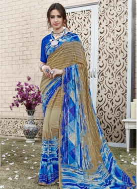 Faux Georgette Beige and Blue Contemporary Style Saree