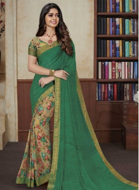 Faux Georgette Beige and Green Half N Half Trendy Saree For Ceremonial