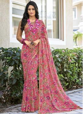 Faux Georgette Beige and Hot Pink Classic Saree For Casual