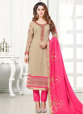 Faux Georgette Beige and Hot Pink Embroidered Work Pant Style Pakistani Salwar Kameez