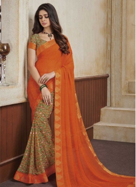 Faux Georgette Beige and Orange Half N Half Designer Saree For Ceremonial
