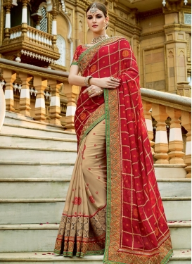 Faux Georgette Beige and Red Beads Work Designer Half N Half Saree