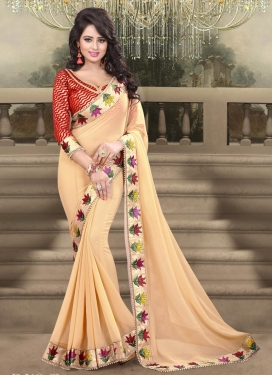 Faux Georgette Beige and Red Contemporary Saree