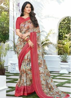 Faux Georgette Beige and Salmon Classic Saree