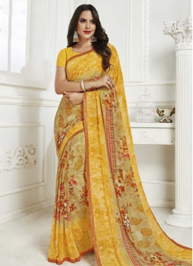 Faux Georgette Beige and Yellow Designer Contemporary Saree