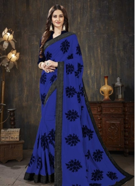 Faux Georgette Black and Blue Trendy Classic Saree