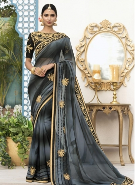 Faux Georgette Black and Grey Embroidered Work Trendy Classic Saree