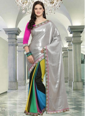 Faux Georgette Black and Light Blue Half N Half Saree For Casual