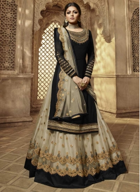Faux Georgette Black and Off White Designer Kameez Style Lehenga