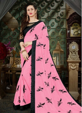 Faux Georgette Black and Pink Contemporary Saree For Festival