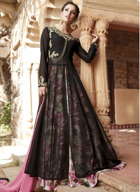 Faux Georgette Black and Pink Designer Long Choli Lehenga