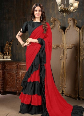 Faux Georgette Black and Red Lace Work Designer Contemporary Style Saree