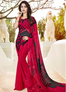 Faux Georgette Black and Rose Pink Classic Saree