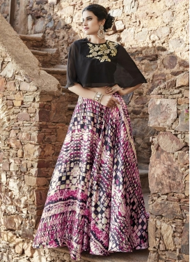 Faux Georgette Black and Rose Pink Designer Lehenga Choli