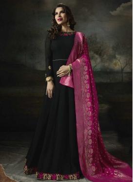 Faux Georgette Black and Rose Pink Embroidered Work Long Length Anarkali Salwar Suit
