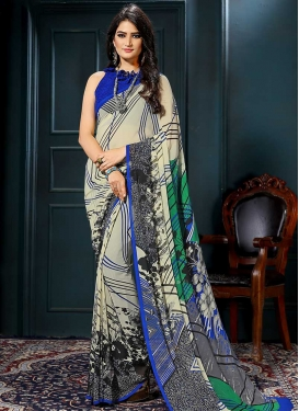 Faux Georgette Blue and Cream Digital Print Work Contemporary Style Saree