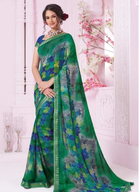 Faux Georgette Blue and Green Digital Print Work Classic Saree