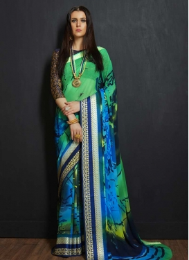Faux Georgette Blue and Green Trendy Classic Saree