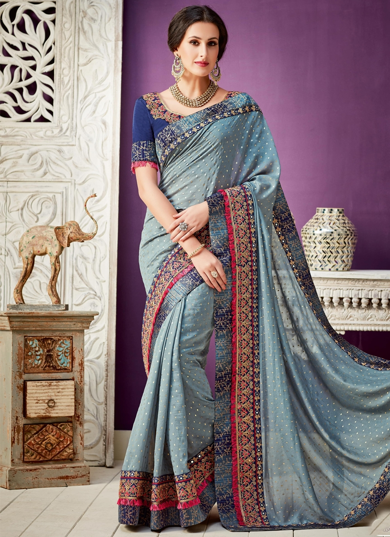 Faux Georgette Blue and Grey Contemporary Style Saree For Ceremonial