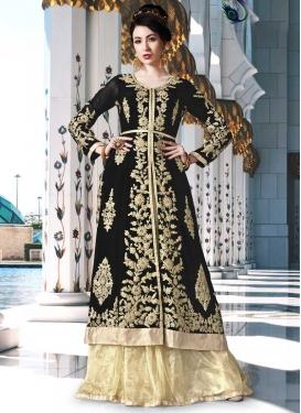 Faux Georgette Booti Work Black and Cream Kameez Style Lehenga