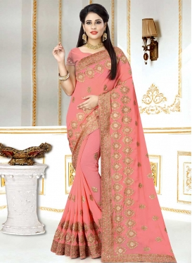 Faux Georgette Booti Work Contemporary Saree